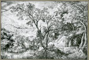 Landschap met de drie maria's aan het graf