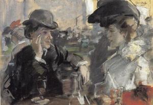 Dame en heer in het café
