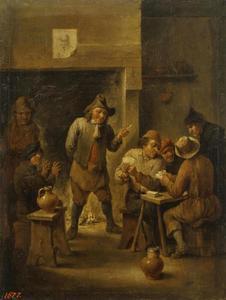 Herberginterieur met kaartspelende mannen