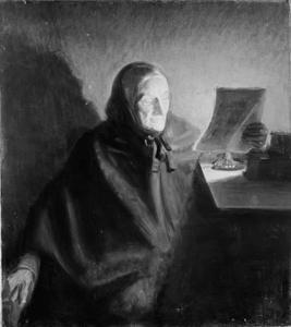 Schoonmoeder van de kunstenaar, Ane Hedvig Brøndum, een brief lezend