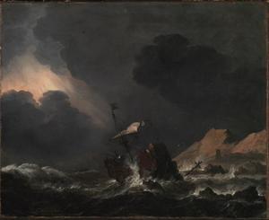 Schipbreuk voor een bergachtige kust