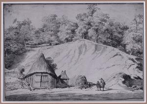 Boslandschap met zandheuvel en schuur