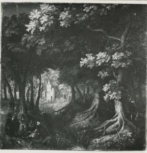 Boslandschap met een elegant gezelschap