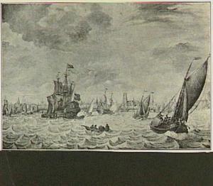 Schepen op de Maas voor Rotterdam