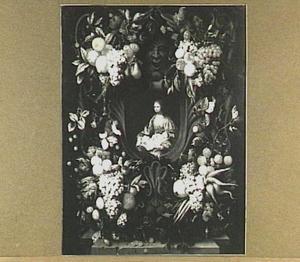 Cartouche versierd met vruchten in de hoeken rond een voorstelling van Maria met Christus als kind