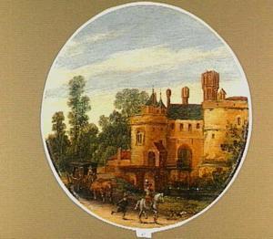 Landschap met een ruiter en een reiswagen op een weg langs een kasteel