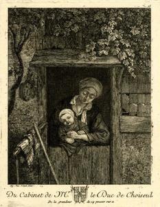 Vrouw met een baby in een deuropening