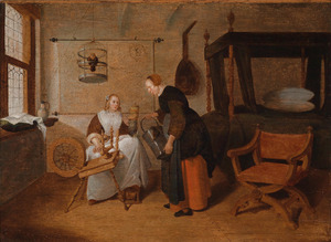 Interieur met een jonge vrouw en een dienstmeid