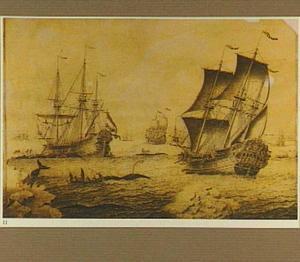 Walvisvaarders in bedrijf; rechts de 'Hollandia'