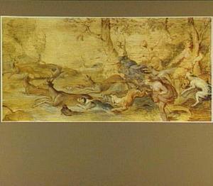Diana en haar gezellinnen op hertenjacht