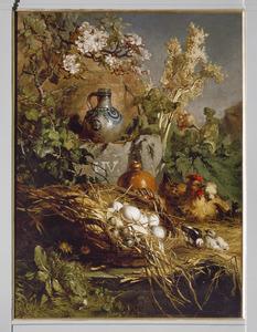 Bosstilleven met nest met eieren en pluimvee