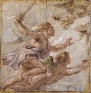 Zetes en Calaïs verdrijven de harpijen (Ovidius, Metamorfosen, VII, 3-4)