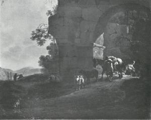 Landschap met een ruïne en herders