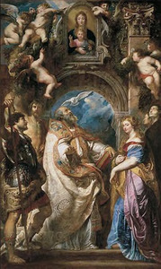 De Madonna van Vallicella vereerd door St. Gregorius met St. Maurus en St. Papianus; St. Domitilla met St. Nereus en St. Achilleus