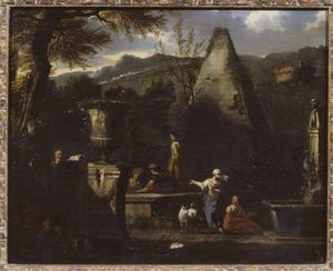 Zuidelijk landschap met rustendefiguren bij de pyramide van Caius Cestius