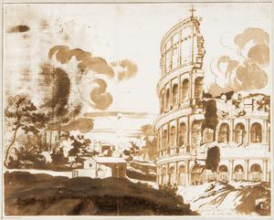 Het Colosseum te Rome; links op de achtergrond de thermen van Trajanus