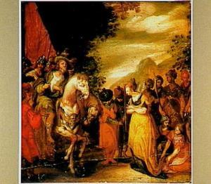 Jefta door zijn dochter begroet (Richteren 11:34)