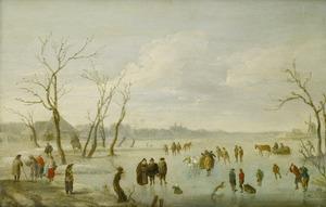 Winterlandschap met figuren op een bevroren plas