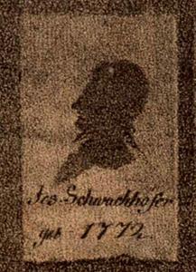 Portret van Hermann Schneider (1766-1846), torenwacht op de Stephansdom in Mainz; tegen de achterwand door hemzelf vervaardigde silhouetten van zijn vrienden, waaronder de in 1793 naar Amsterdam vertokken Joseph Schwachhofer (1772-1829)