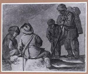 Twee zittende soldaten in gesprek met twee staande soldaten