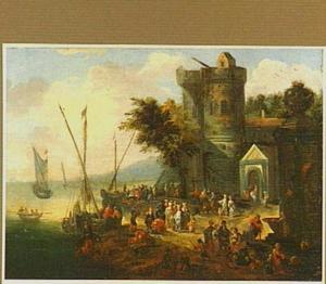Landschap met handelaars bij een aanlegplaats; op de achtergrond een stadspoort