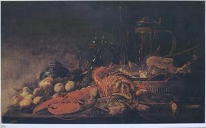 Stilleven met kreeften, krab, fruit en vaatwerk