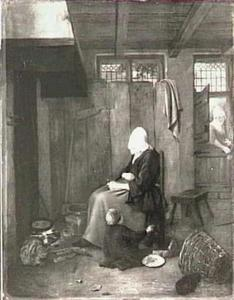 Interieur met oude vrouw en kind