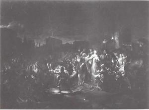 Koning Karel X Gustaaf van Zweden en Koningin Hedwig Eleonore verlaten na de kroning op 26 oktober 1654 de Sint Nicolaaskerk te Stockholm