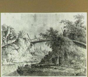 Rivierlandschap met houten brug