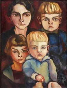 Portret van Dora Hintzen (1893-1975) met haar drie kinderen, Boks, Doortje en Adriaan van Ravesteyn