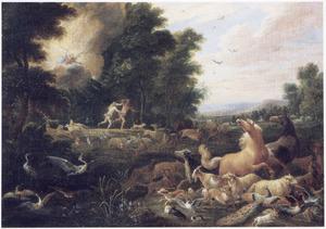 Landschap met de verdrijving van Adam en Eva uit het Paradijs (Genesis 3:23-24)