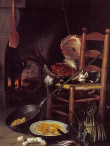 Het bereiden van de maaltijd voor de openhaard