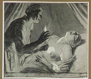 Oude vrouw die een jonge vrouw in bed belicht met een kaars