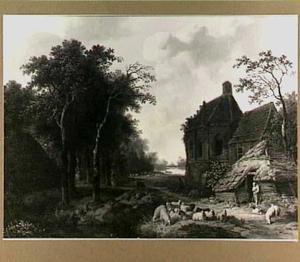 Landschap met bebouwing en vee