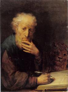 De heilige Marcus zijn evangelie schrijvend