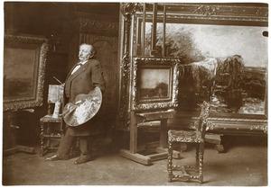 De schilder Willem Maris in zijn atelier