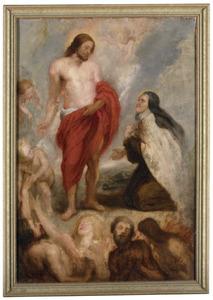 De H. Theresa van Avila als middelares bij Christus voor Bernardino de Mendoza