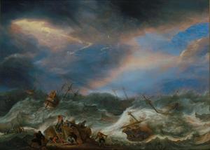 Schipbreuk in een hevige storm