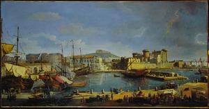 Napels, met gezicht op de haven met in de achtergrond de Darsena