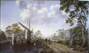 Rivierlandschap met een zeilboot voor een brug