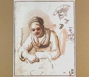 Kippenplukster en studies van koppen