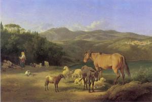 Boeren met hun vee bij het meer van Nemi