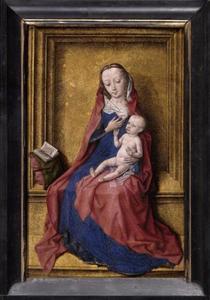 Maria met kind ten voeten uit zittend in een vergulde nis