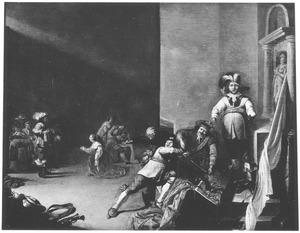 Interieur van een wachtlokaal met soldaten de buit inspecteren en een smekende vrouw