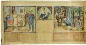 Interieurontwerp (detail): woonkamerinterieur met wandopstand, voorzien van grote schilderijen en een bovendeurstuk met een zittende vrouw, ca. 1917