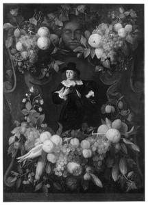 Cartouche met schikkingen van vruchten en groenten rond een portret van een man, mogelijk Joan Hulft (1610-1677)