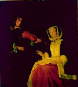 Vioolspelende man met vrouw die de maat aangeeft