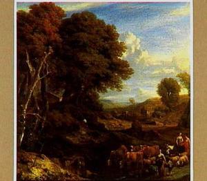 Boslandschap met herders en hun kudde op een weg
