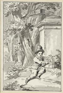 Illustratie voor 'De koolmees' in de Kleine gedichten voor kinderen door H. van Alphen