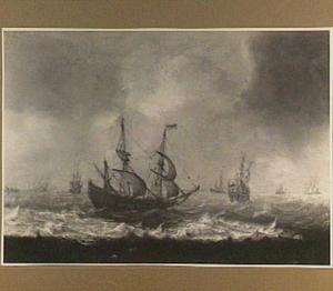 Verschillende schepen op een woelige zee